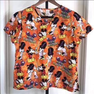 Disney Womens L Mickey Minnie Halloween Scrub Top